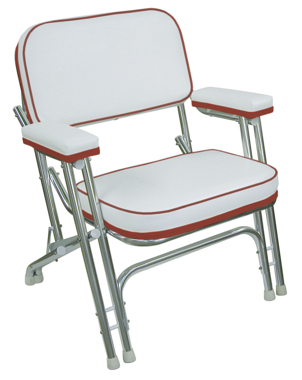 Folding Deck Chair With Aluminum Frame White Dark Red